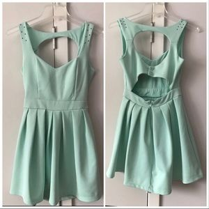 Minty green poof couture mini dress open back
